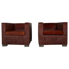 Catawiki Rodolfo Dordoni for Minotti, Pair, 'Suitcase' Leather Armchairs