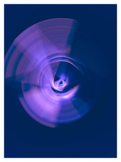 """Spin"", a spiraling swirl of purple and violet light, photogaphs pure color"