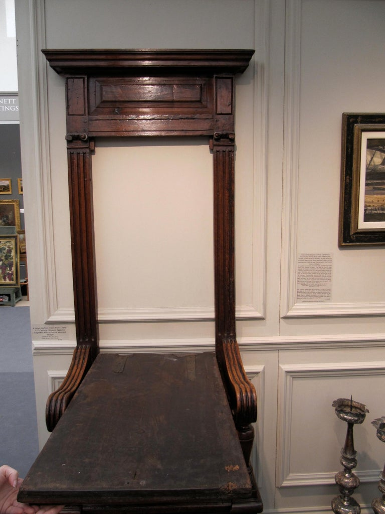 Cathedra or Throne Chair, Late 16th Century, French Second Renaissance, Walnut For Sale 5