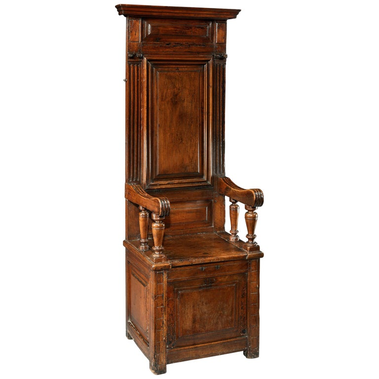 Cathedra or Throne Chair, Late 16th Century, French Second Renaissance, Walnut For Sale