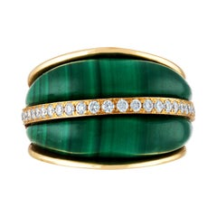Cathedral Arch Dome Diamond and Malachite Gold Statement Ring