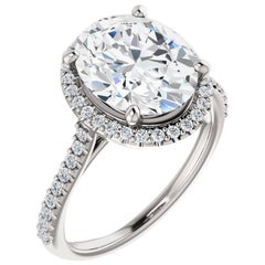 Cathedral Halo Certified Oval Brilliant Moissanite Diamond Engagement Ring