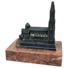 Cathedral of Strasbourg City Metal Souvenir Building Vintage France, 1950s