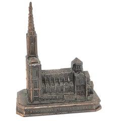 Cathedral of Strasbourg City Metal Souvenir Building Vintage, France, 1950s
