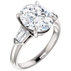 Cathedral Style Baguette Diamond Accented Oval GIA Certified Engagement Ring