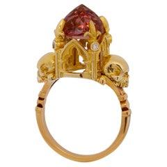 Cathédrale de Strasbourg Ring in 9 Karat Yellow Gold, Pink Tourmaline & Diamonds