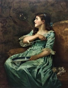 """""""Blowing Bubbles"""", portrait of a wealthy Victorian girl, interior oil on canvas"""