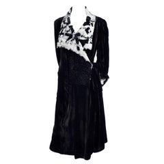 Catherine Bacon Vintage Evening Coat in Black Velvet White Mohair Wool & Sequins