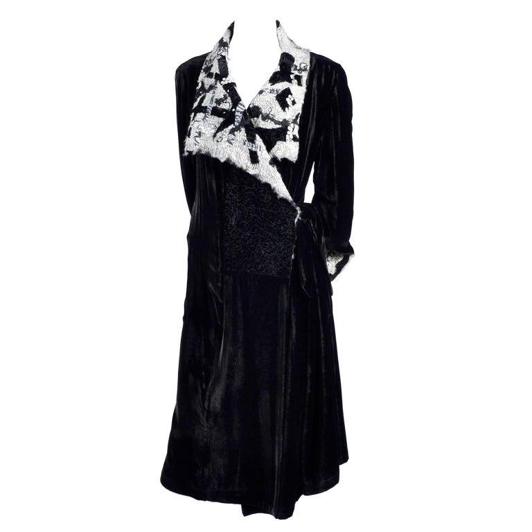 Catherine Bacon Vintage Evening Coat in Black Velvet White Mohair Wool & Sequins