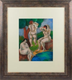 Group of Bathers Pastel Painting by Catherine Bres-Rhocanges