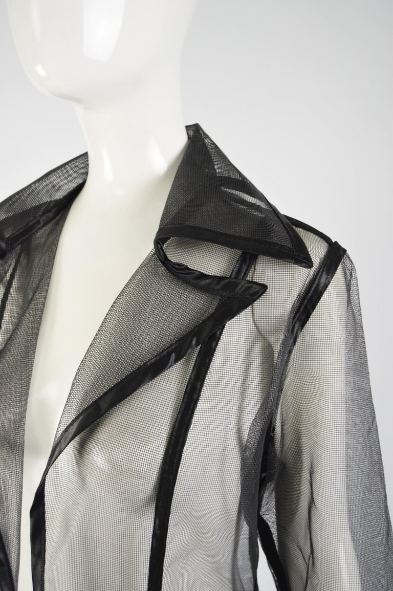 Women's Catherine Coatney Black Architectural Sheer Mesh Maxi Coat, 1980s For Sale