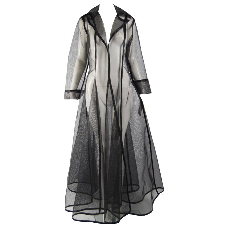 Catherine Coatney Black Architectural Sheer Mesh Maxi Coat, 1980s For Sale