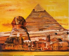 Sphinx and Pyramid 24 x 30 by Catherine Colosimo