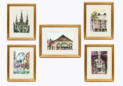 Set of 5 Paintings of New Orleans Catherine Parker Burchfield 1970 Rare Framed