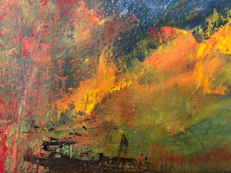 """""""Ablaze"""" by Catherine Gibbs is an abstract textural autumn landscape, painted in brilliant yellows, oranges, and reds that contrast with cool hues of grey and blue. This dynamic 16 x 20 x 1.5 inch oil on canvas painting suggests a stormy autumn day"""