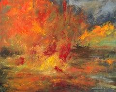 """Ablaze"", Catherine Gibbs, oil, landscape, autumn, yellow, orange, red"
