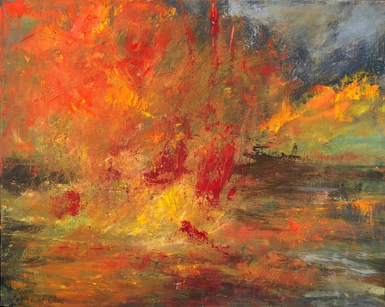 """Catherine Gibbs Landscape Painting - """"Ablaze"""", oil painting, abstract, landscape, autumn, yellow, orange, red"""