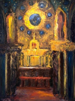 """Altar with Celestial Blue and Gold"", expressionist, textural, reds, heavenly"