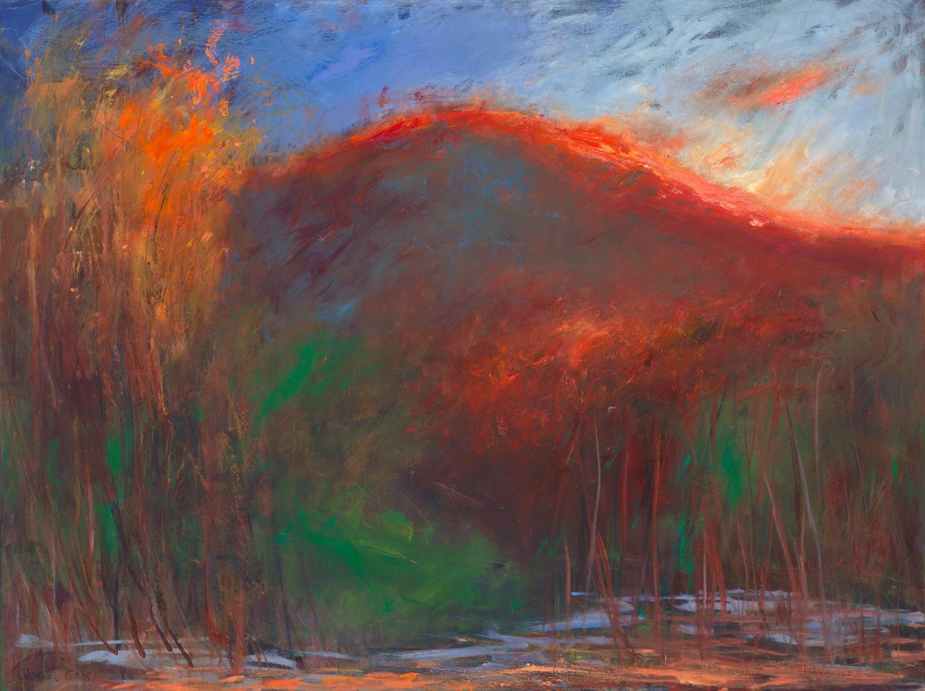 """""""Backlit Mountain"""", oil painting, landscape, dusk, reds, yellows, greens, blue"""
