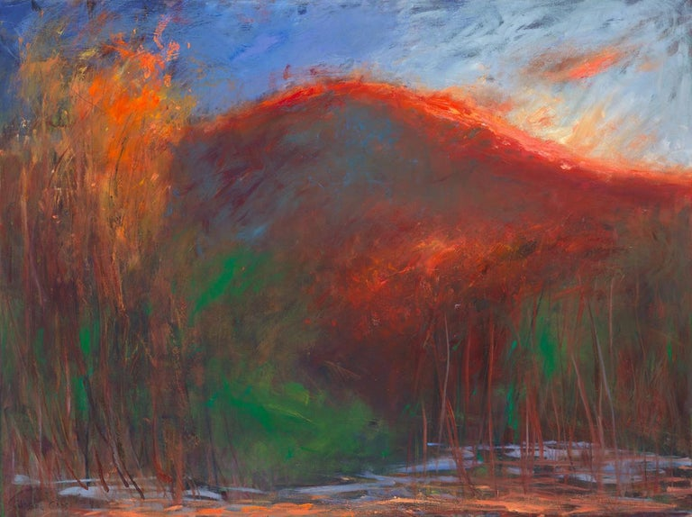 """Catherine Gibbs Landscape Painting - """"Backlit Mountain"""", oil painting, landscape, dusk, reds, yellows, greens, blue"""