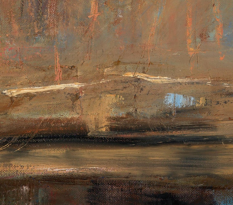 """""""Cement Bridge"""" by Catherine Picard-Gibbs is a contemporary, textural, early spring scene of a bridge, painted in yellow ochre, browns, oranges, grays, and blues. This dynamic 24 x 36 x 1.5 inch oil on canvas painting is painted with bold, painterly"""