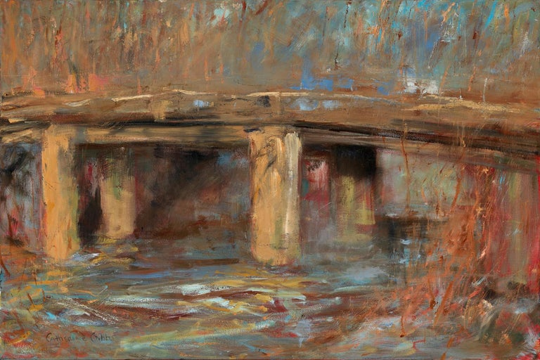 """""""Cement Bridge"""", oil painting, landscape, contemporary, yellow, brown, orange - Painting by Catherine Picard-Gibbs"""