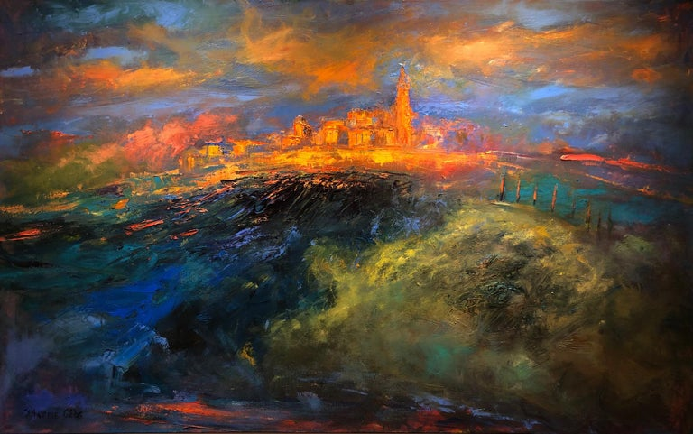 """City of Light"", oil painting, landscape, city, golds, blues, greens, oranges - Painting by Catherine Gibbs"
