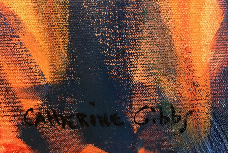 """""""Embers of the Day Diptych"""" by Catherine Gibbs is an abstract textural landscape of a brilliant sunset breaking through the trees and is painted in rich yellows, oranges, and reds that contrast with cool hues of blue, purple, and green. This dynamic"""
