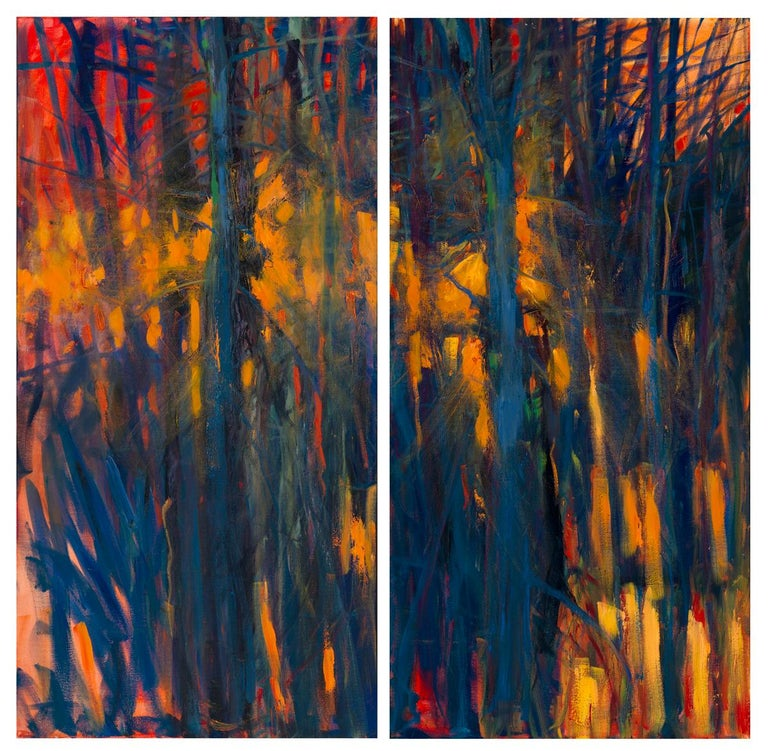 """Catherine Gibbs Landscape Painting - """"Embers of the Day Diptych"""", oil painting, abstract, textural, landscape, sunset"""