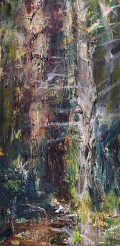 """Essence of the Forest"", abstract, oil painting, grays, browns, purples, greens"