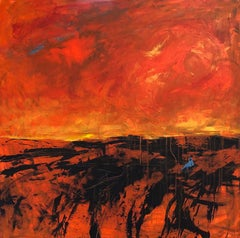 """""""In the Desert"""", abstract, landscape, painting, red, orange, blue, black"""