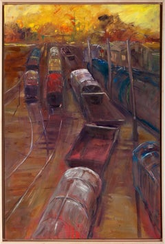 """""""Miles to Go Before I Sleep"""", Catherine Gibbs, oil painting, train, yellow, red"""