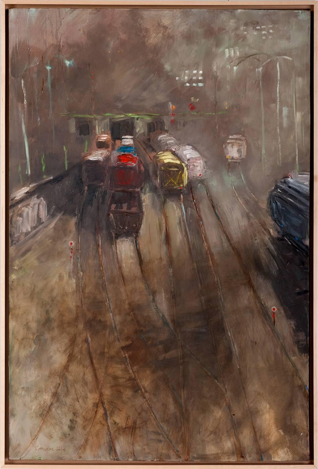 """""""Monday Morning Train"""", oil painting, gray, fog, brown, yellow, red, blue"""