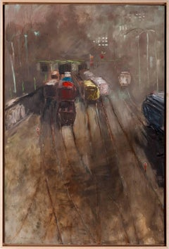 """Monday Morning Train"", oil painting, gray, fog, brown, yellow, red, blue"
