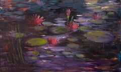 """Moonlit Water Lilies"", oil painting, textural, deep purples, pink, green"