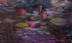 """Moonlit Water Lilies"", Catherine Gibbs, oil painting, deep purples, pink, green"