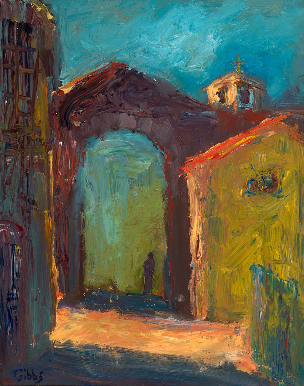 """""""Ombre"""", oil painting, Tuscan cityscape, expressionist, yellow, red, blue. green"""