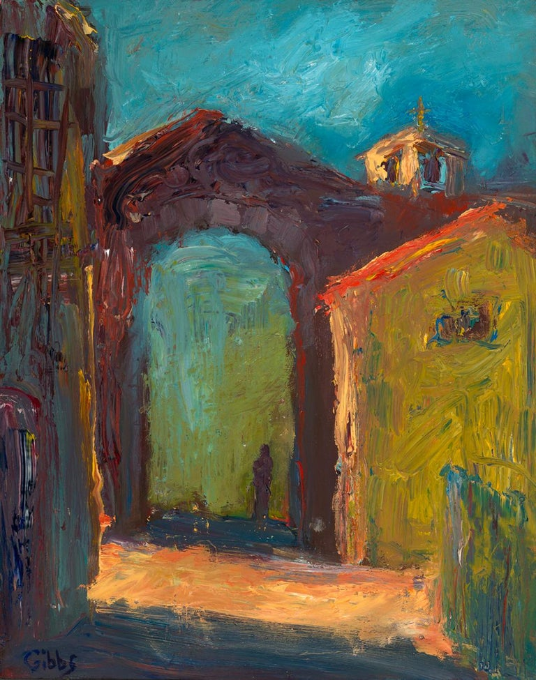 """""""Ombre"""", oil painting, Tuscan cityscape, expressionist, yellow, red, blue. green - Painting by Catherine Gibbs"""