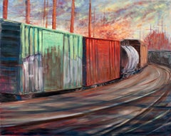 """Passing Through"", oil painting, trains, teal, yellow, red, blue, gray"