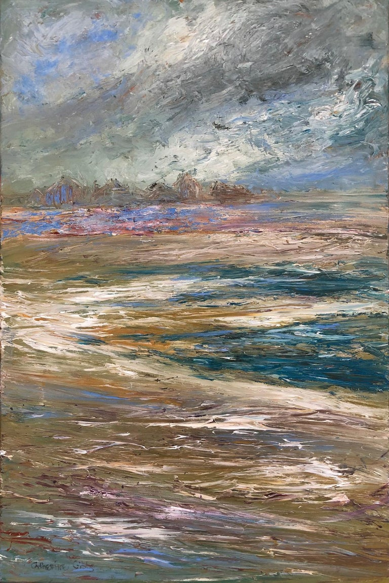 """Catherine Picard-Gibbs Landscape Painting - """"Stormy Inlet"""", oil painting, landscape, abstract, water, blues, grays, browns"""