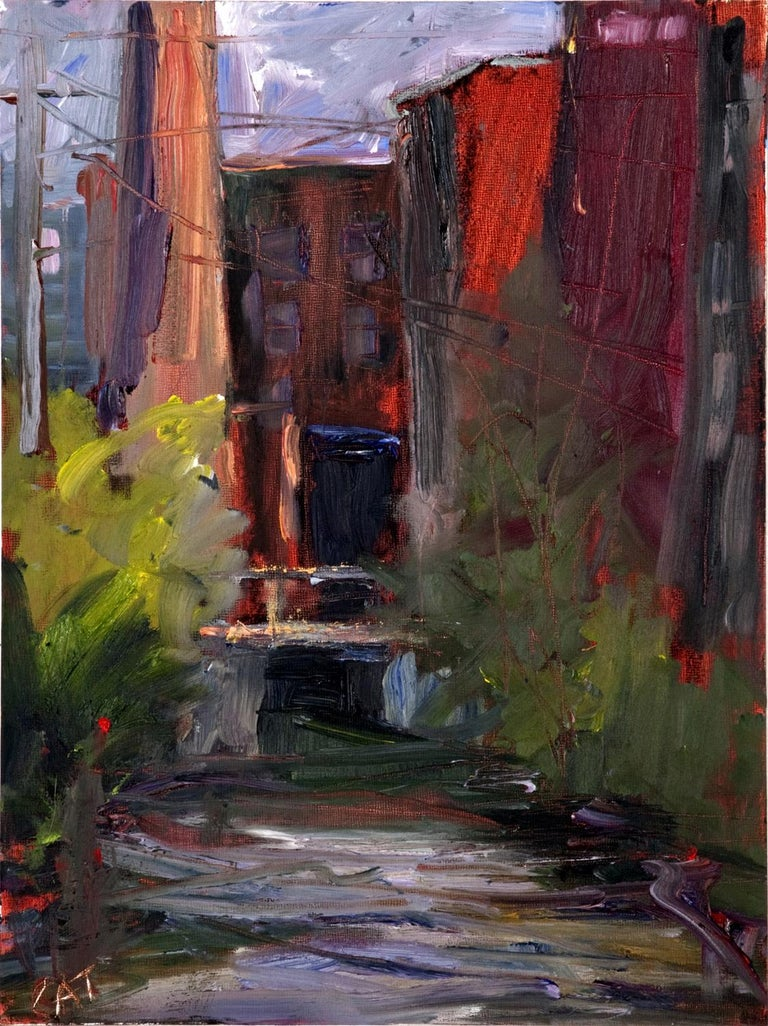 """""""Studio Canal"""", Catherine Gibbs, oil, urban, factory, textural, oranges, reds - Painting by Catherine Gibbs"""