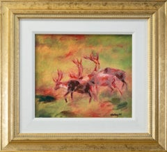'Caribou in the Mist' original mixed media signed by Catherine Holmburg