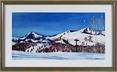 'Skiing in the Western Rockies' original mixed media by Catherine Holmburg