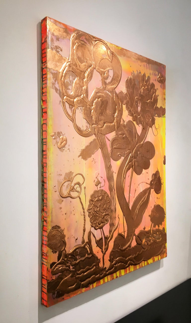 Copper Leaf, Mixed Media, Still Life Painting, Catherine Howe, Opal Painting #2 For Sale 1