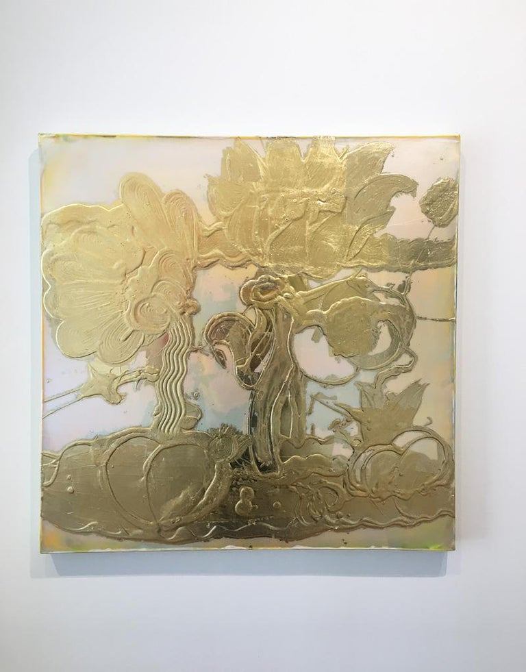 Gold leaf, Mixed Media, Still Life Painting, Catherine Howe, Opal Painting(gold) For Sale 1