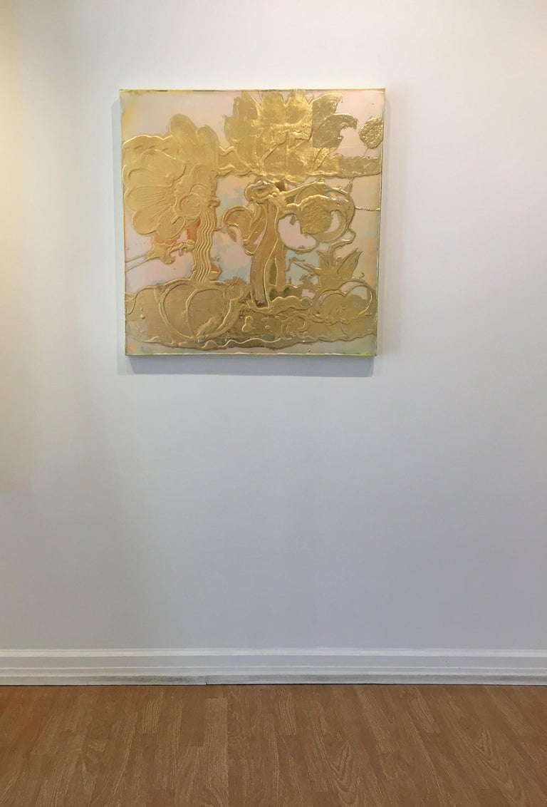 Gold leaf, Mixed Media, Still Life Painting, Catherine Howe, Opal Painting(gold) For Sale 3