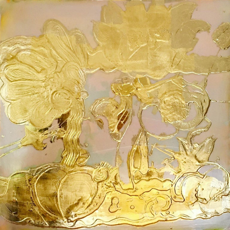 'Opal Painting (gold)' 2018 by Catherine Howe. Fluorescent & mica pigments in acrylic mediums, 24K gold leaf gilded on canvas, 30 x 30 in.. This painting features Howe's signature abstract still life floral motifs painted with thick, sweeping