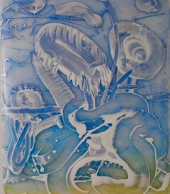 Reverse Mylar Painting, Two Blue Compositions (2)