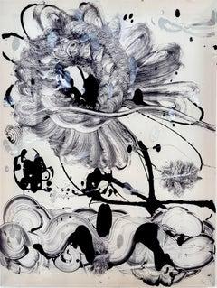 Silk monotype Black Garden No. 8 by Catherine Howe. Botanical silk monotype.