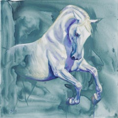 Bellephron - original abstract blue purple horse oil painting contemporary